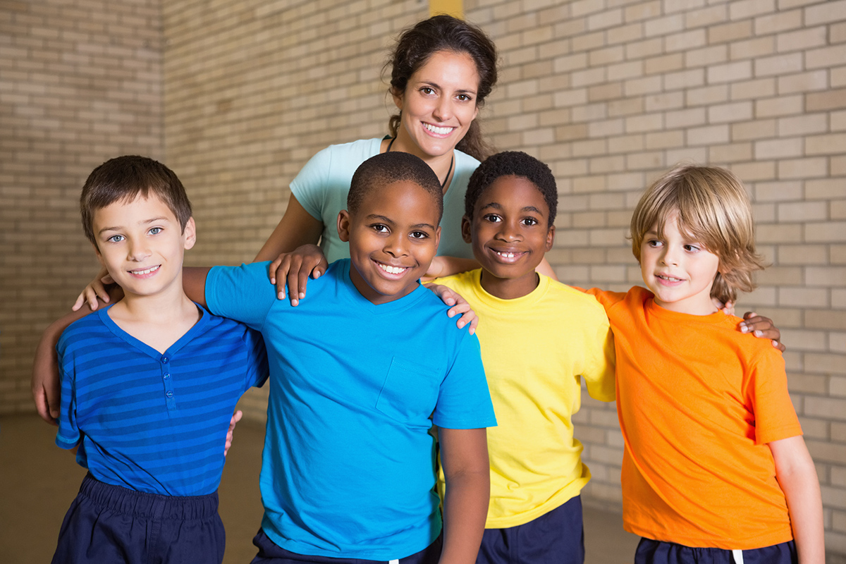 Group of kids with physical education teacher
