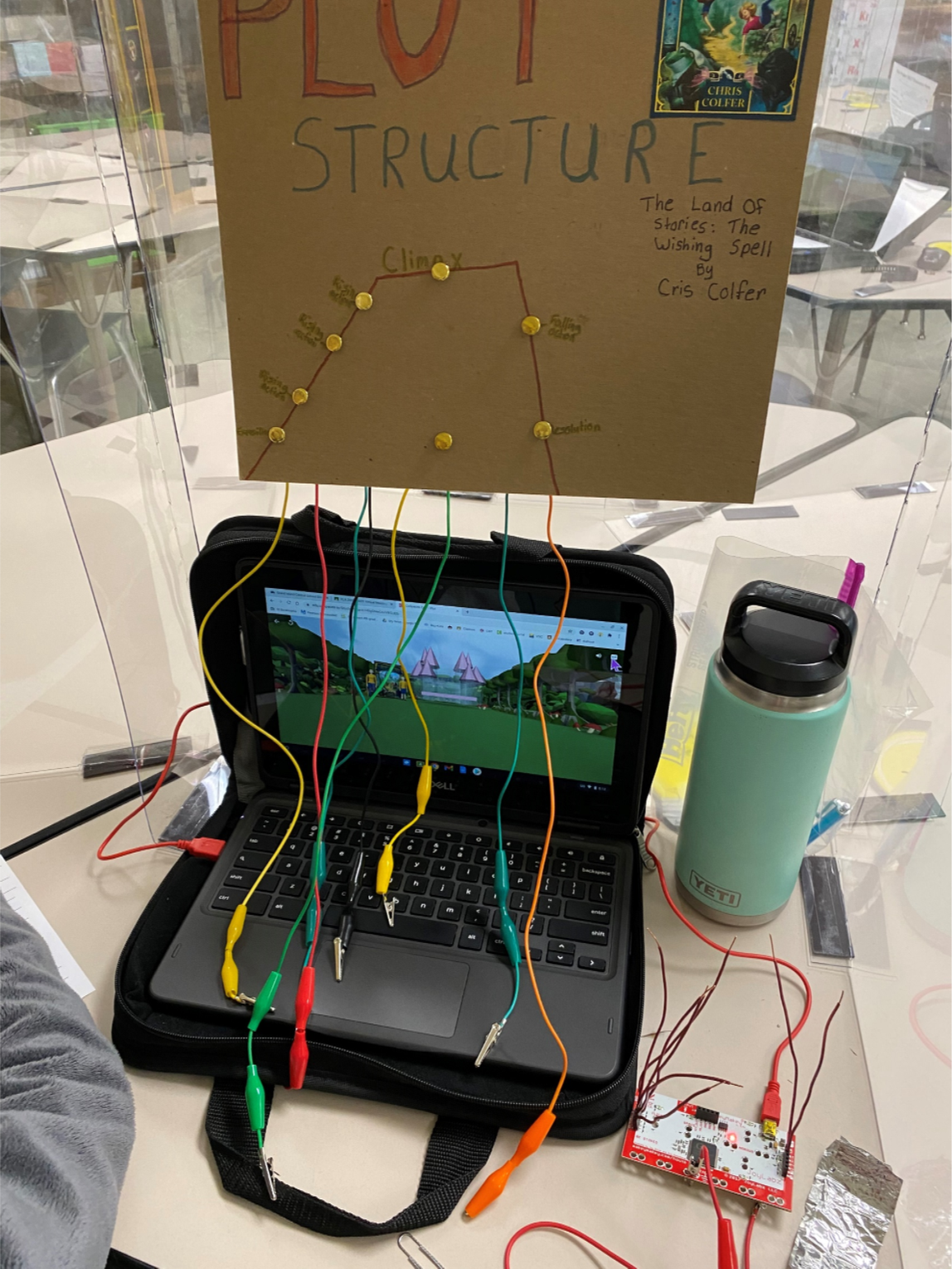 Student computer with cardboard coding directions