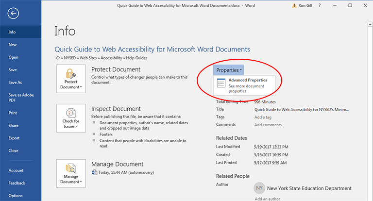 Screenshot of Microsoft Word Info window showing the selection of Advanced Properties under the Properties Tab