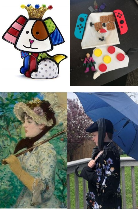 Photos of students recreating classic artwork