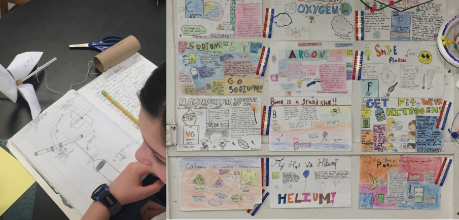 A wall with student work displayed