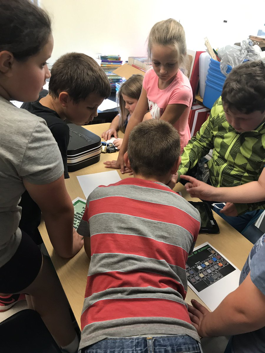 Students engaging through BreakoutEDU.