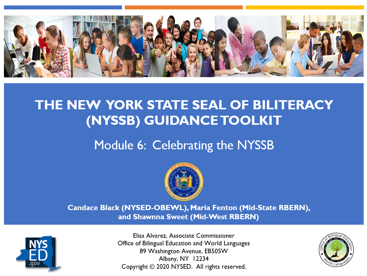NYSSB Module 6 - Planning to Celebrate the NYSSB