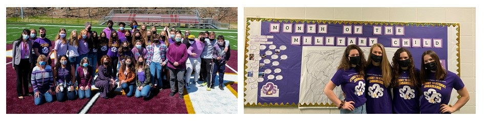 Students celebrating the Month of the Military Child by pinning locations to a map of the world and wearing purple.