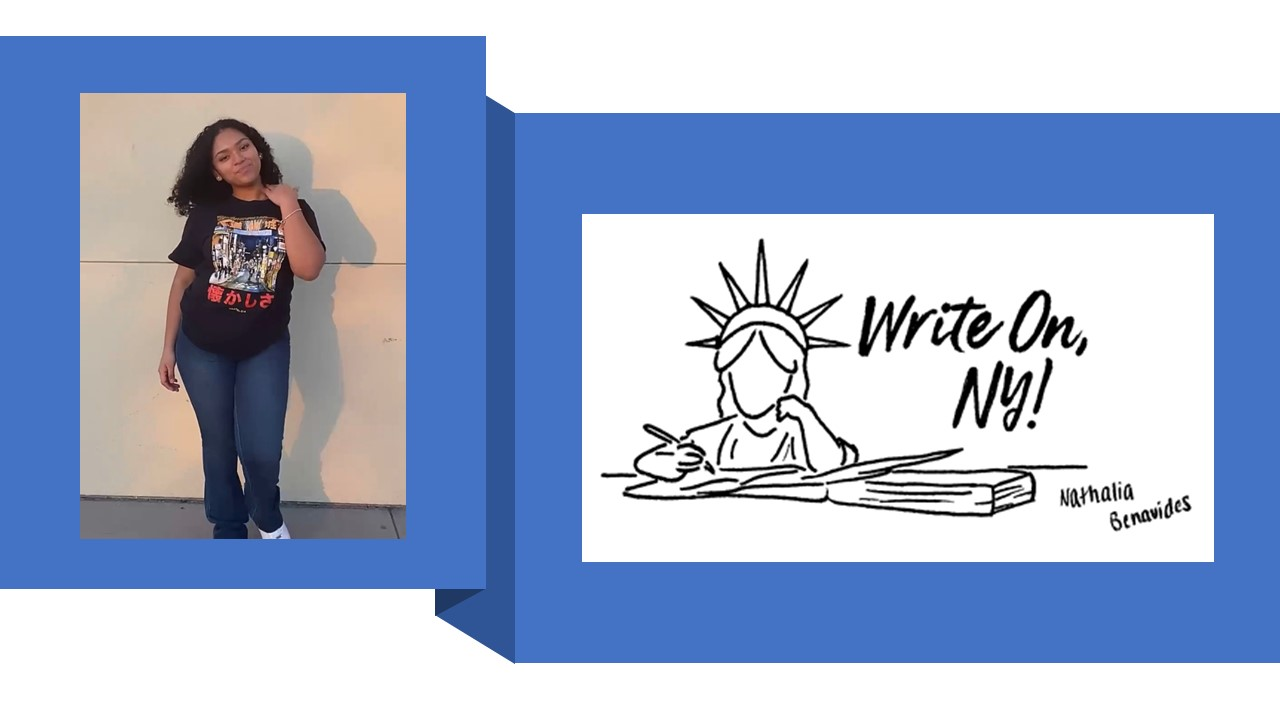 Photo of winning entrant in the Write On, NY! Logo Design Contest beside her logo design
