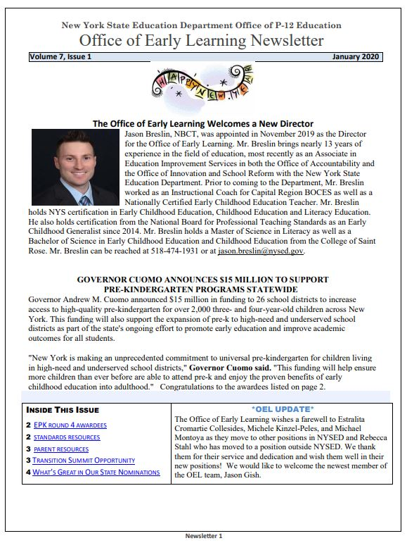 OEL January 2020 Newsletter Page Image