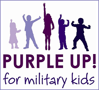 "kids jumping in the air below the text ""Purple Up! for Military Kids"""