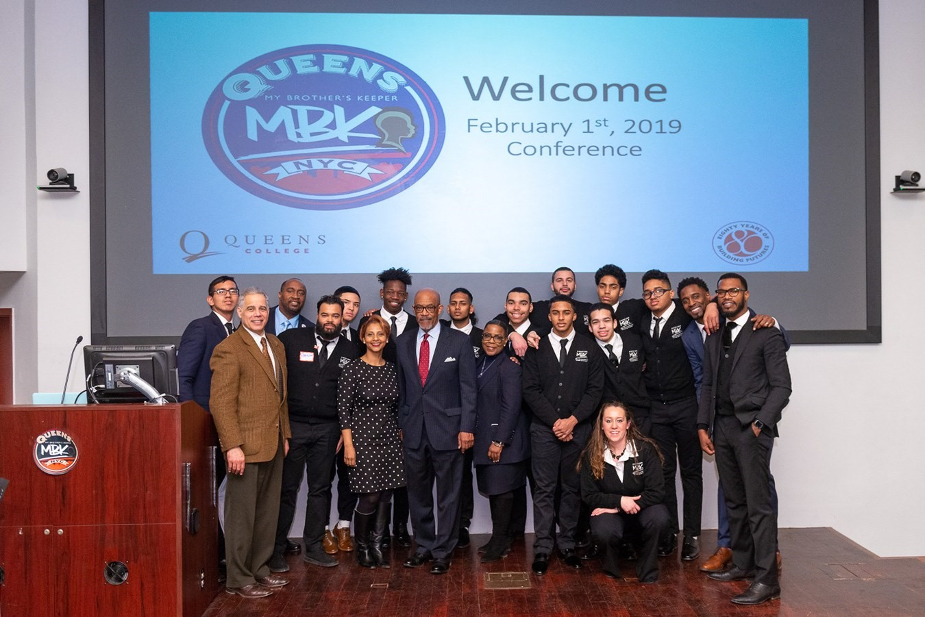 Regent Young with speakers and participants at the inaugural Queens MBK Conference