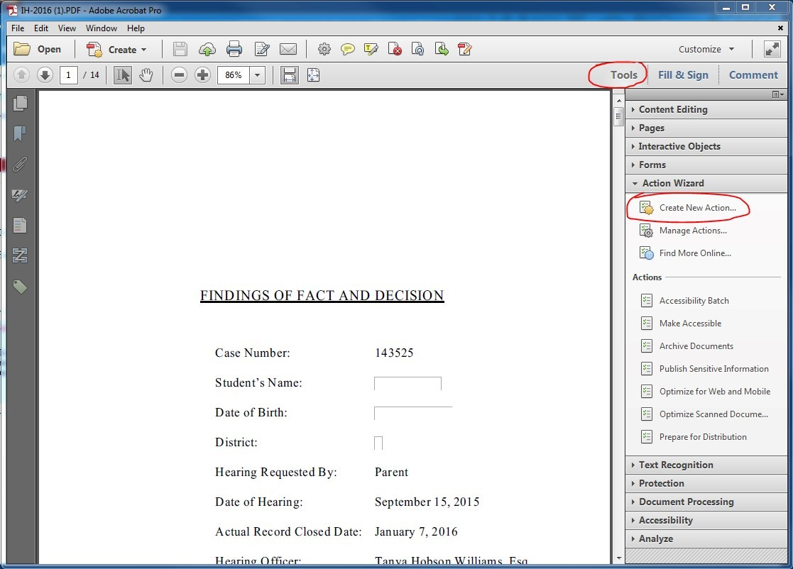 Adobe Acrobat Pro window. Under Tools > Action Wizard, click the Create New Action link.