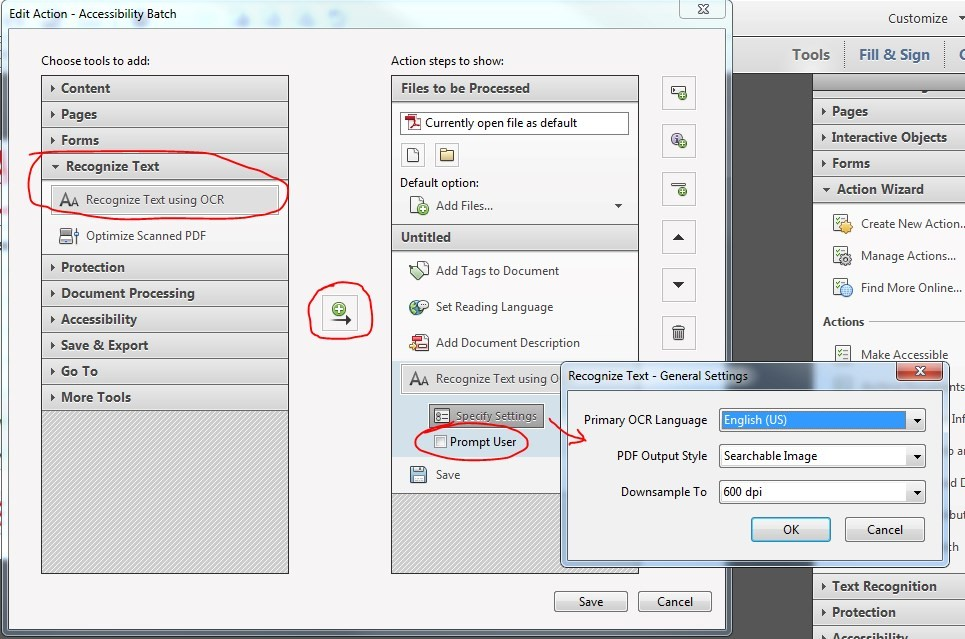 Edit Action window. Under Recognize Text, click to select Recognize Text using OCR. Click the move icon. Action is added under Untitled. De-select checkmark for Prompt User.