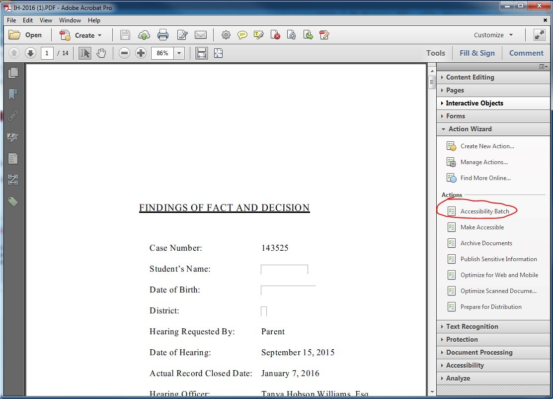 PDF file opened in Adobe Acrobat. Under Action Wizard > Actions, the Accessibility Batch is pressed.