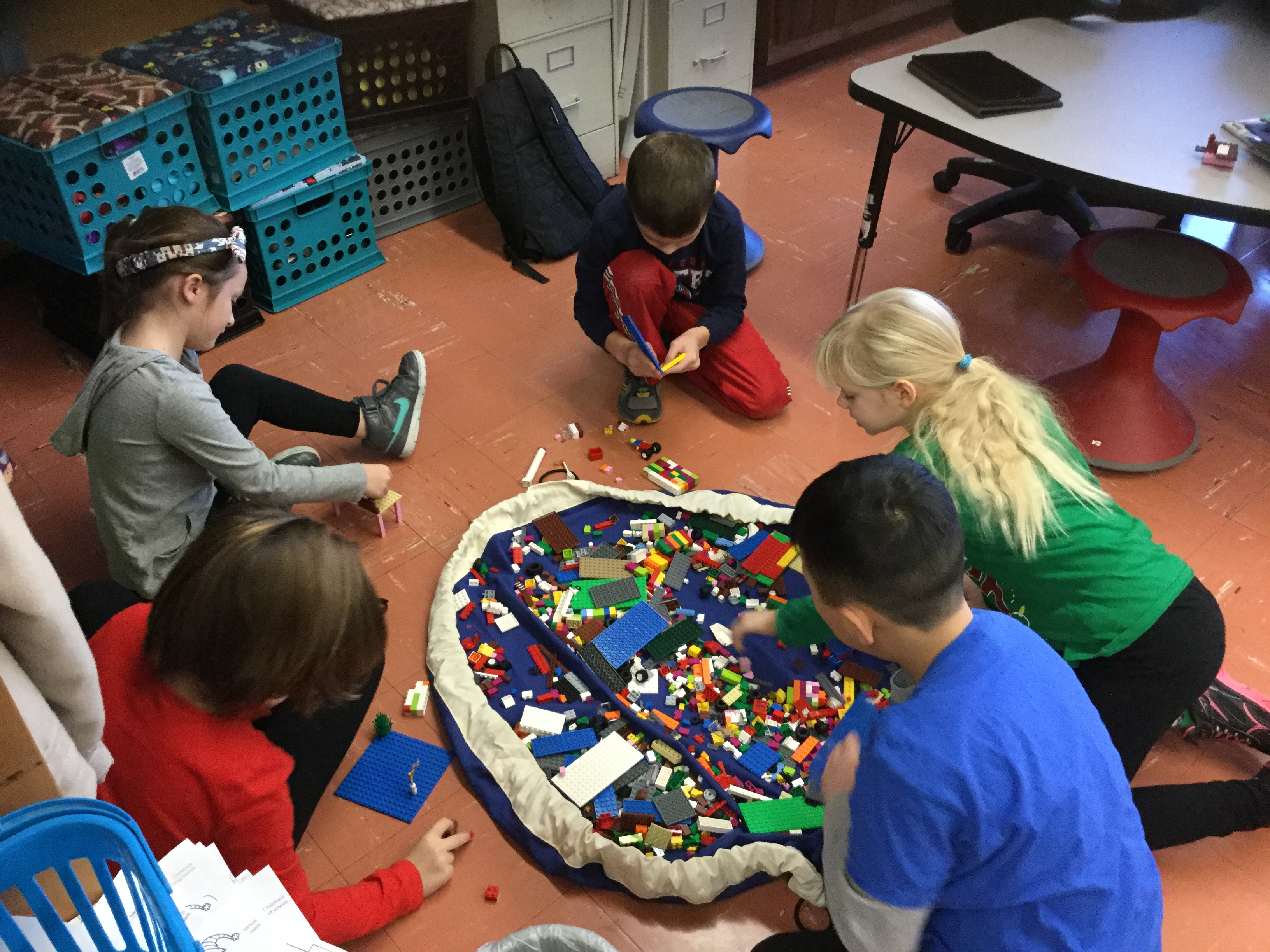 Students in the Lego League.