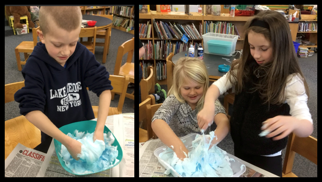 Second graders making slime after studying states of matter