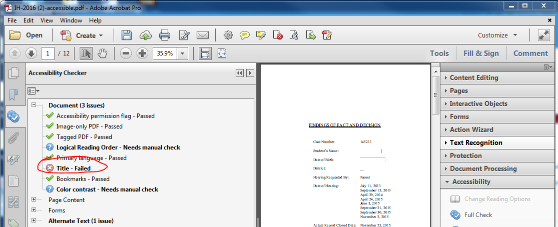 Screen showing that the document Title has failed the web accessibility check.