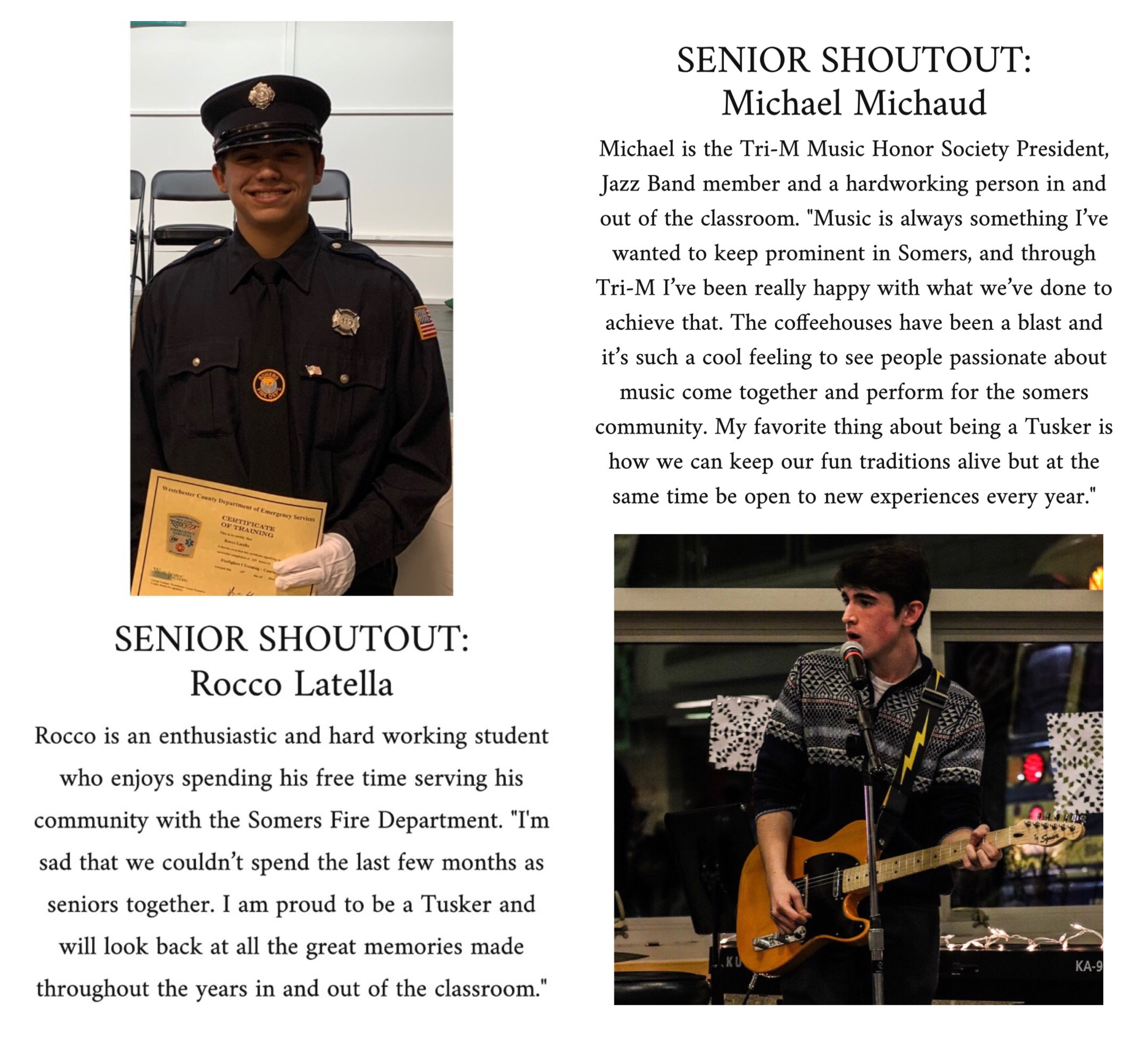 Somers Central School District Senior Shoutouts: Rocco Latella and Michael Michaud