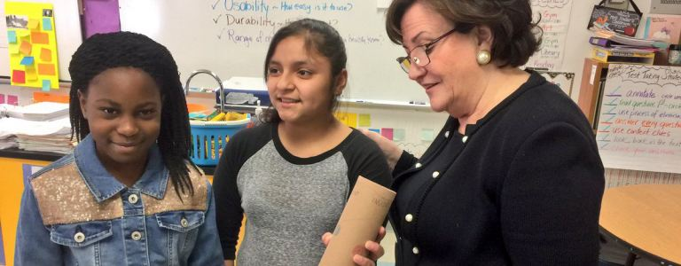 East Ramapo Kakiat Elementary students showing Commissioner knee brace project