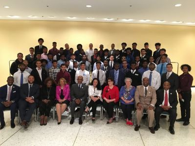 My Brother's Keeper Fellows pose with the Board of Regents, New York State Education Department staff, and Symposium speakers.