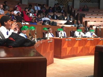 Students in grades 7-12 addressed their concerns and served as council members in a mock meeting of the Common Council Educational Committee, chaired by  Council Member Ulysees O. Wingo