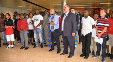 Buffalo's Male Academy  opening ceremony with Superintendent Kriner Cash