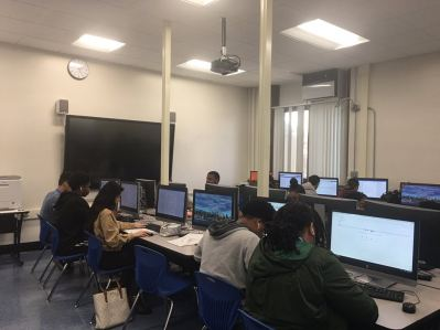Students on computers in a computer lab