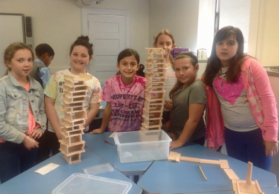Students posing with their projects.