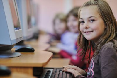 Female student at computer.
