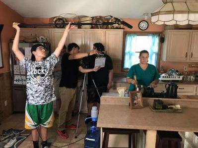 High school students filming in their Native Film Class