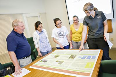 University of Missouri College of Agriculture, Food and Natural Resources Communications Team (CARNR) speaking to CAFNR faculty and staff about how to properly design a scientific poster.