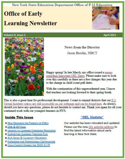 OEL Spring 2021 Newsletter Page Image