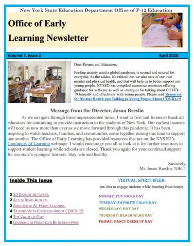 OEL April 2020 Newsletter Page Image