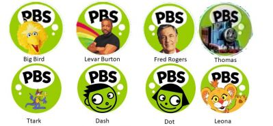 Various PBS logos with celebrities