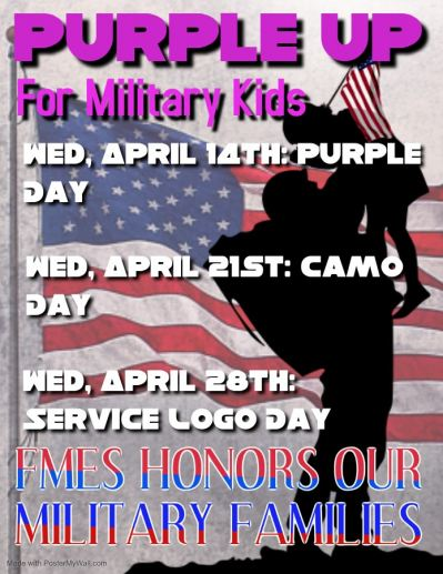 Poster of Purple Up for Military Kids celebration ideas at a local school district