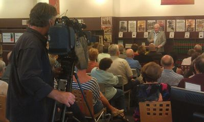"Noel Beddoe reading from his book, ""On Cringila Hill"" at Kiama Library."