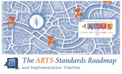 Picture of the cover of the Arts Roadmap and Implementation Timeline; image shows various thumbtacks and a timepiece above a map to illustrate the process of implementing the Arts learning standards