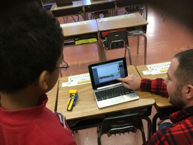 Students engaging in an activity on the computer.