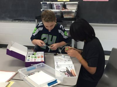 Students working in a Makerspace.