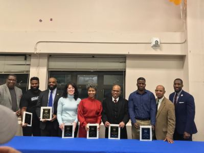 Honorees at the White Plains second anniversary celebration, Executive Director of the White Plains Youth Bureau Frank Williams, Jr. and NYSED Director of Family and Community Engagement Dr. Don-Lee Applyrs