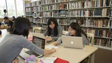 Students collaborating in a library