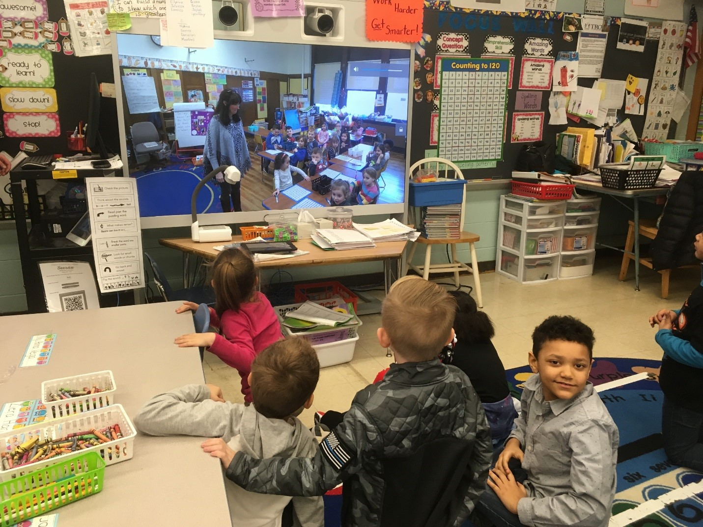 Students connecting with another classroom through video-conferencing