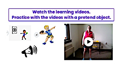 A screenshot of an interactive, overhand throwing lesson/activity video assignment.
